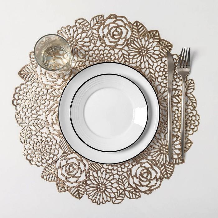 Набор салфеток кухонных Доляна «Розы», 4 шт, d=38 см, цвет золото