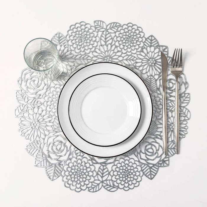 Набор салфеток кухонных Доляна «Розы», 4 шт, d=38 см, цвет серебро