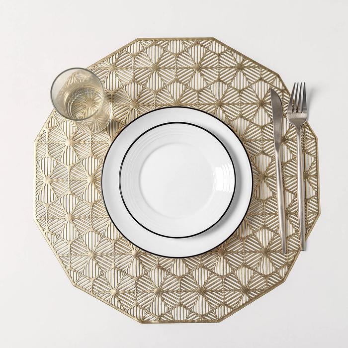 Набор салфеток кухонных Доляна «Гипноз», 4 шт, d=38 см, цвет золото