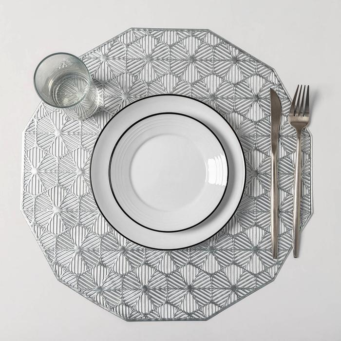 Набор салфеток кухонных Доляна «Гипноз», 4 шт, d=38 см, цвет серебро