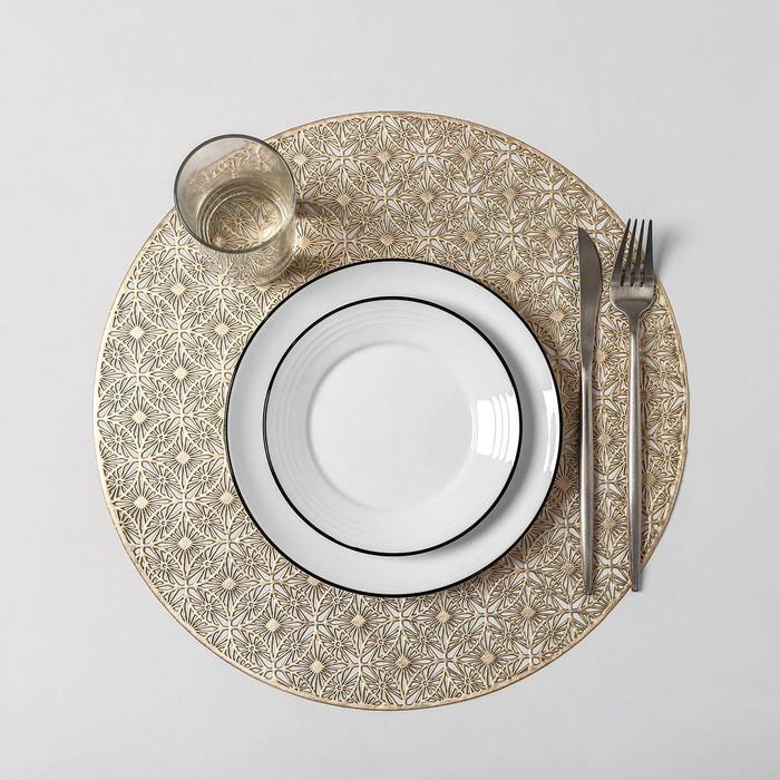 Набор салфеток кухонных Доляна «Волшебство», 4 шт, d=38 см, цвет золото