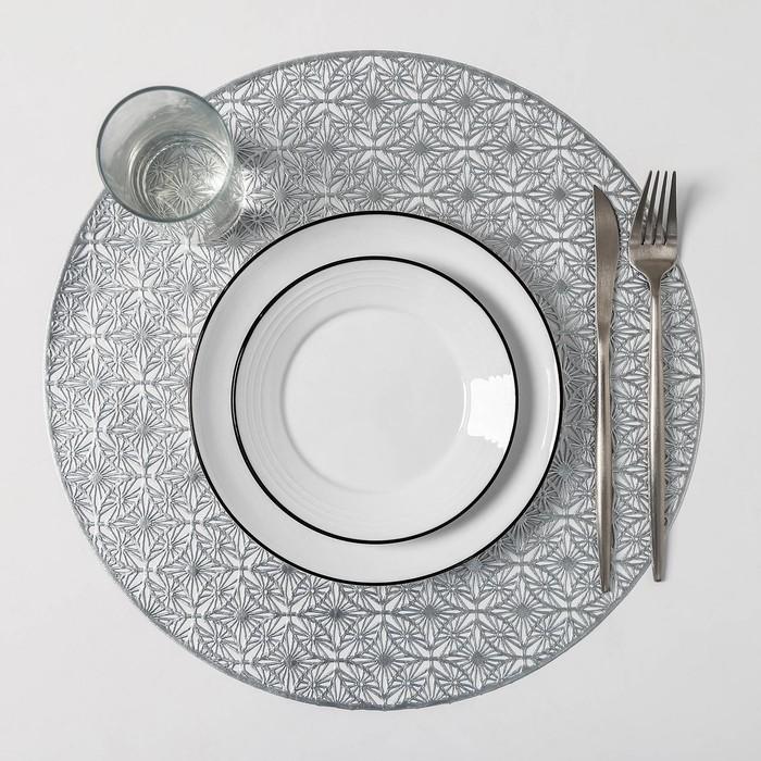 Набор салфеток кухонных Доляна «Волшебство», 4 шт, d=38 см, цвет серебро