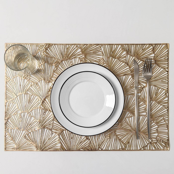 Набор салфеток кухонных «Веер», 4 шт, 38×38 см, цвет золото