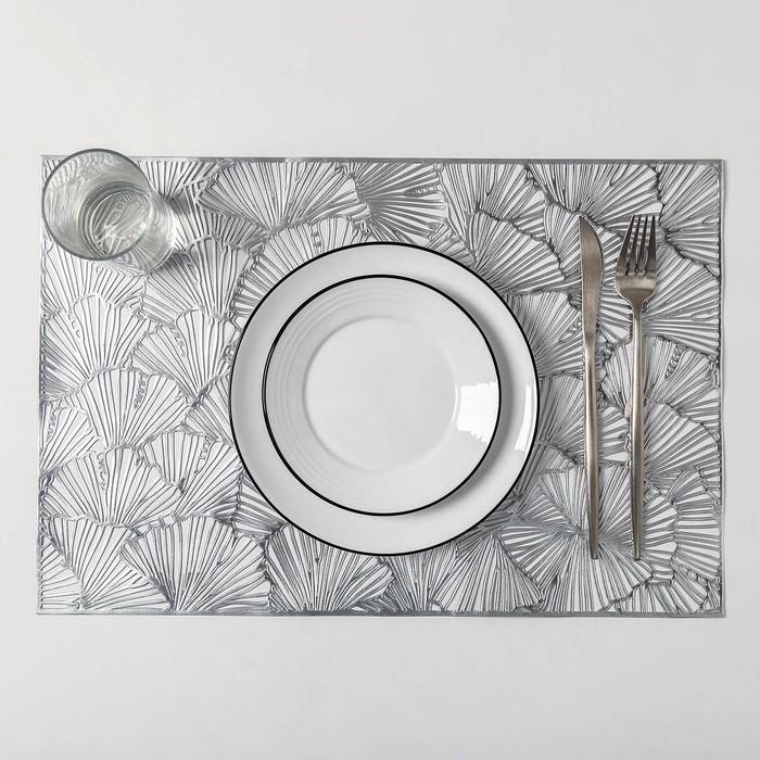 Набор салфеток кухонных «Веер», 4 шт, 38×38 см, цвет серебро