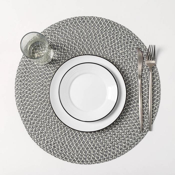 Набор салфеток кухонных Доляна «Рэй», 4 шт, d=38 см, цвет бежевый