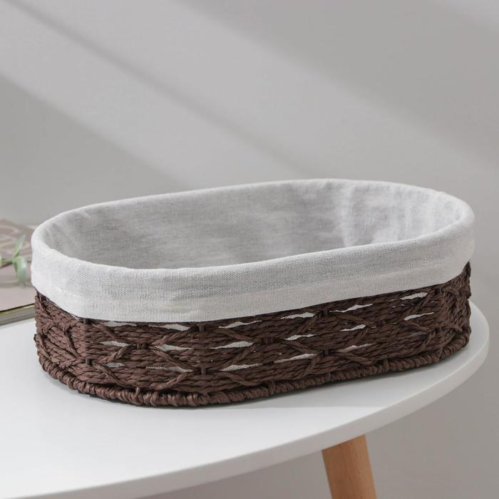 Корзина для хранения Доляна «Лира», плетёная, 30×20×9 см, средняя, цвет коричневый