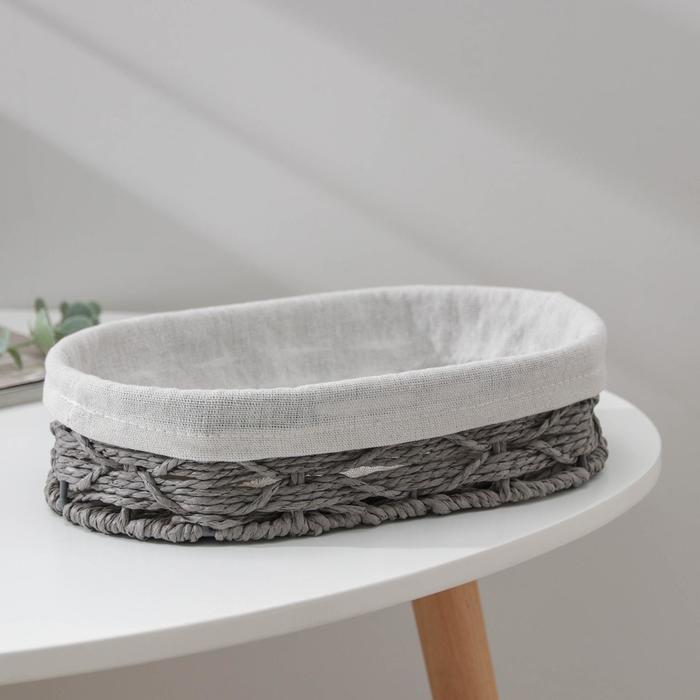 Корзина для хранения Доляна «Лира», плетёная, 26×16×7 см, цвет серый