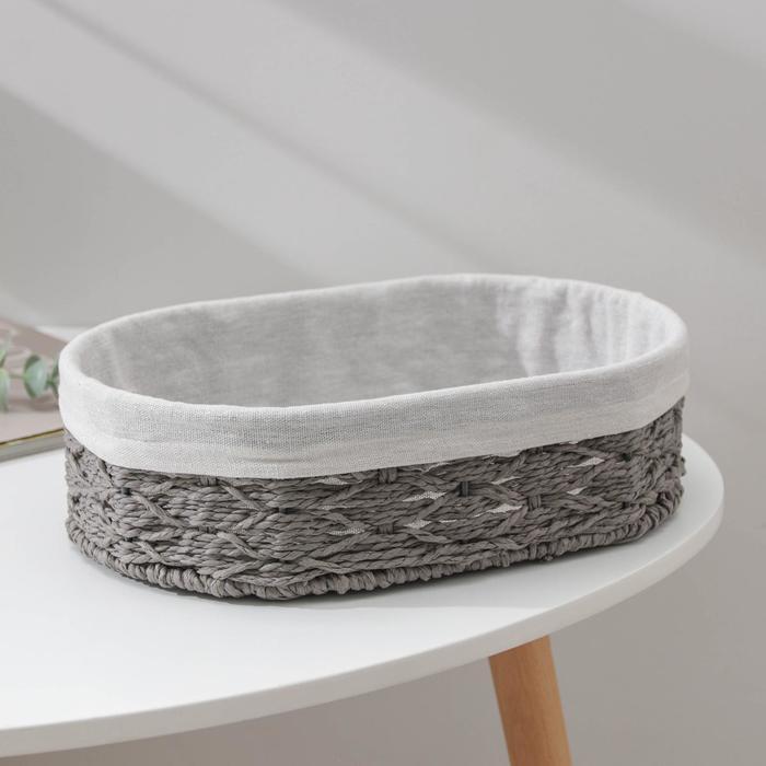 Корзина для хранения Доляна «Лира», плетёная, 30×20×9 см, средняя, цвет серый