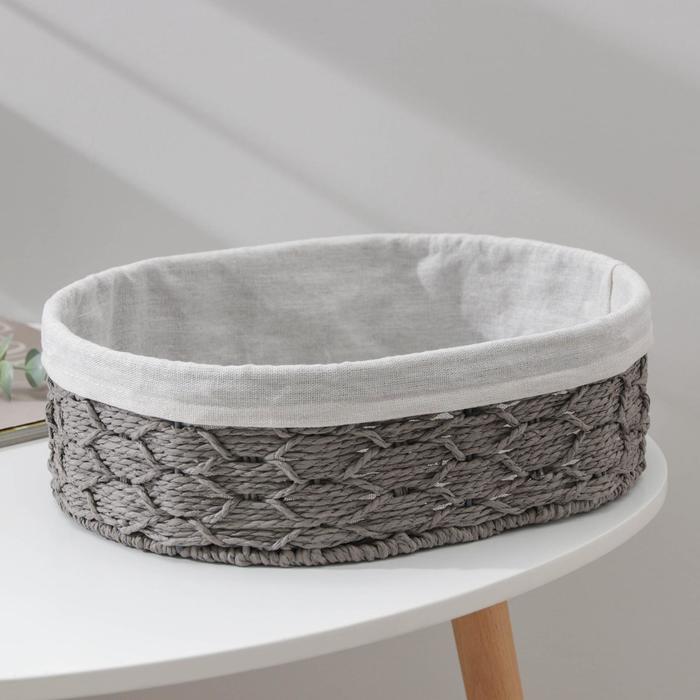 Корзина для хранения Доляна «Лира», плетёная, 34×24×10,5 см, цвет серый