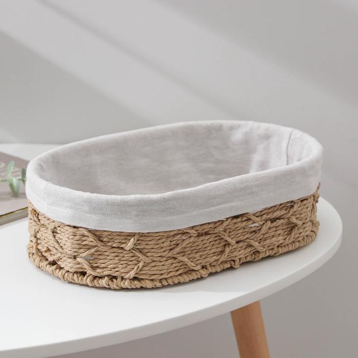 Корзина для хранения Доляна «Лира», плетёная, 30×20×9 см, цвет бежевый