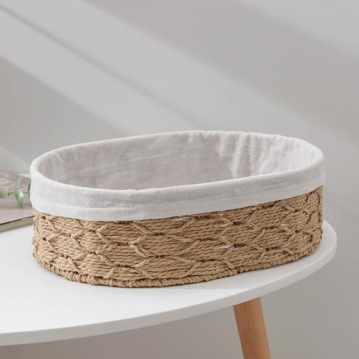 Корзина для хранения Доляна «Лира», плетёная, 34×24×10,5 см, цвет бежевый
