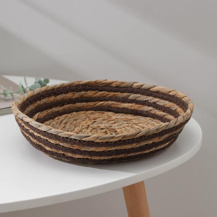 Корзина для хранения «Вега», плетёная, 24×24×6 см, цвет чёрный