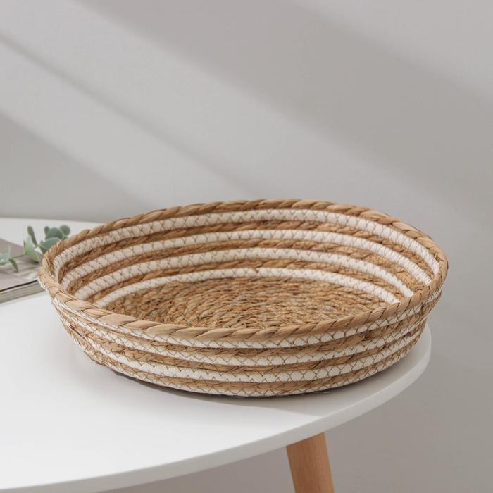 Корзина для хранения «Вега», плетёная, 30×30×8 см, цвет бежевый