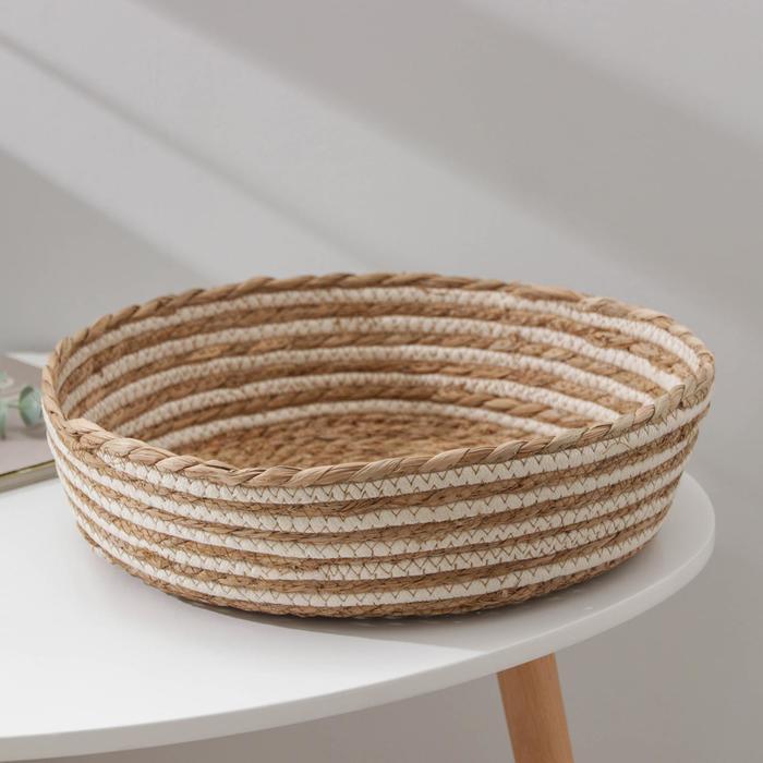 Корзина для хранения «Вега», плетёная, 35×35×11 см, цвет бежевый