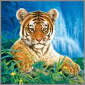 Алмазная мозаика «Тигрёнок у водопада» 20×20см, 21 цвет