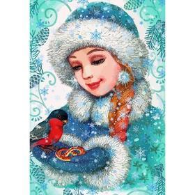 Алмазная мозаика Картина «Снегурочка» 29.5×20.5 см, 30 цветов