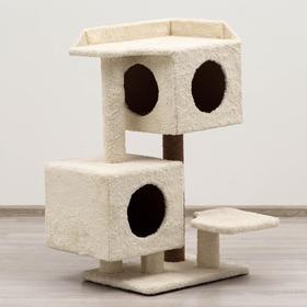 """Игровой комплекс для кошки с 2 домами лежанкой и когтеточками """"Шишки"""" 48*52*93 см"""