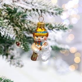 """Ёлочная игрушка """"Снеговик в шапочке"""", 6.5 см, стекло"""