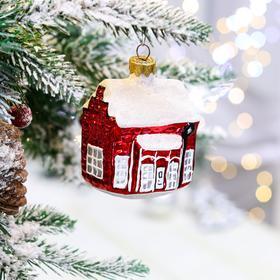 """Ёлочная игрушка """"Дом со снегом"""", 8.5 см, стекло"""