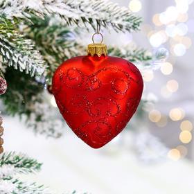 """Ёлочная игрушка """"Сердце красное"""", 8.5 см, стекло"""