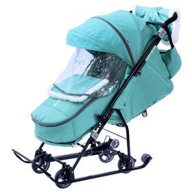 Санки-коляска «Наши детки 6 джинс», цвет зелёный