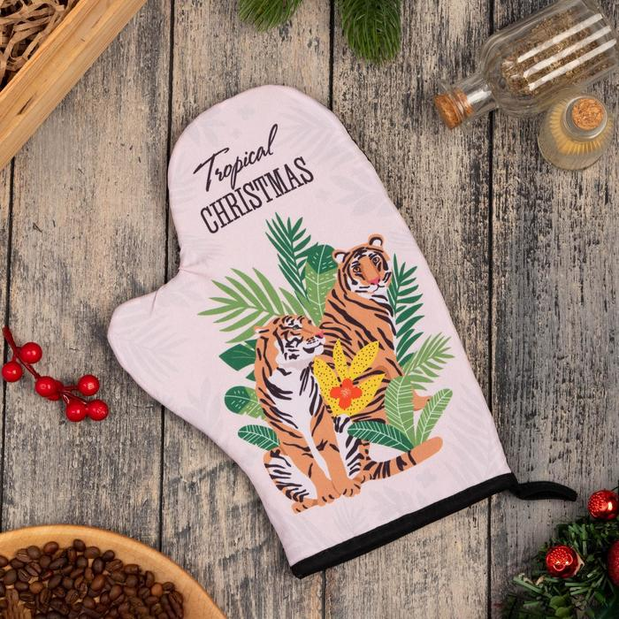 "Варежка-прихватка ""Tropical Christmas"" 20х28см,35% х/л,65% п/э ,ватин 250г/м2"