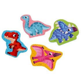 Мягкий пазл «Динозавры», 12 элементов, 4 картинки