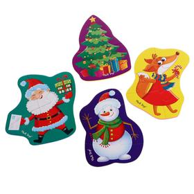 Мягкий пазл «Дед Мороз и друзья», 16 элементов, 4 картинки