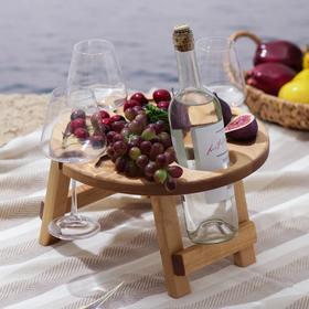 Столик-поднос для вина Доляна, с менажницей и складными ножками, на 3 персоны, d=32×2,8 см, берёза
