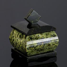 "Шкатулка ""Малый ларчик"", 5х5х6 см, натуральный камень змеевик"