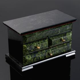 "Ларец ""Комод"", 23х12,5х15 см, натуральный камень, змеевик"