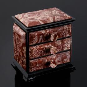 "Шкатулка ""Комод"", 14х10х15 см, натуральный камень, лемезит, змеевик"