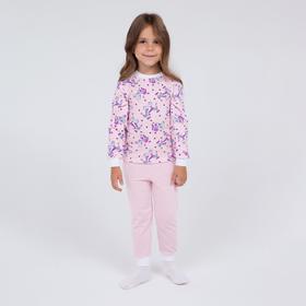 Пижама для девочки НАЧЁС, цвет белый/розовый, рост 104