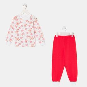 Пижама для девочки НАЧЁС, цвет белый/красный, рост 104 см