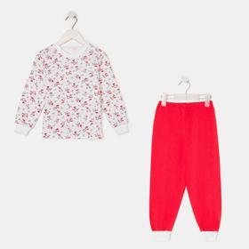 Пижама для девочки НАЧЁС, цвет белый/тёмно-красный, рост 104 см