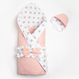 Конверт на выписку, цвет серый/розовый