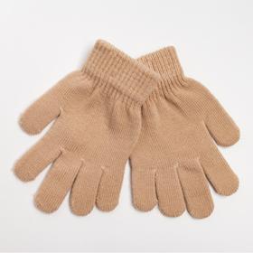 Перчатки детские, цвет бежевый, размер 16 (6-10 лет)