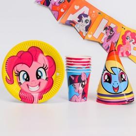 """Набор  бумажной посуды  """"С днем рождения!"""", My Little Pony, на 6 персон"""