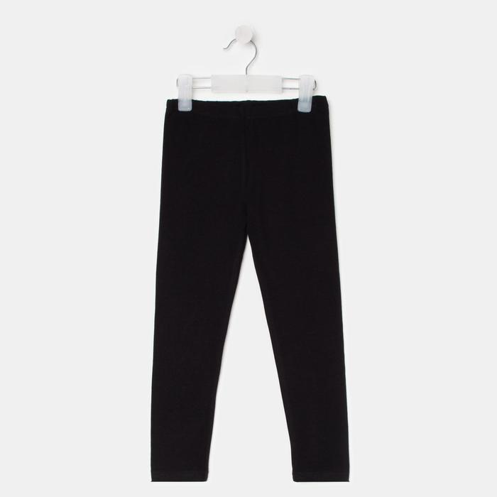 Леггинсы для девочки, цвет чёрный, рост 110 см - фото 107031435