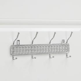 Вешалка настенная Доляна «Витая», 4 двойных крючка, 32,5×13×6 см, цвет хром