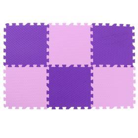 Мягкий пол универсальный «Розово-фиолетовый» 30х30х1,4, 6 элементов
