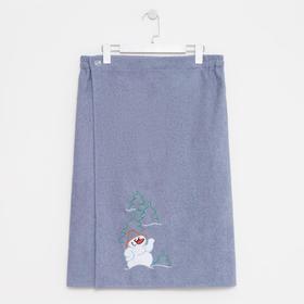 Килт мужской 70х150, цвет серый, вышивка «Снеговик»