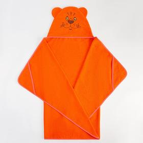 Полотенце-накидка махровое Тигр 75х125см, оранжевый 300 г/м хл100%