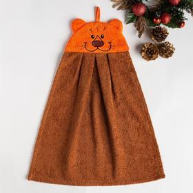 Полотенце-рушник махровый Тигр 35х43см, коричневый 300 г/м  хл100%