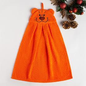 Полотенце-рушник махровый Тигр 35х43см, оранжевый 300 г/м  хл100%