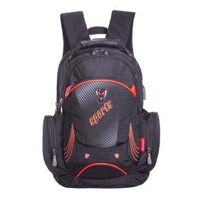 Рюкзак молодежный, Across AC21, 43 х 30 х 18 см, эргономичная спинка, чёрный/оранжевый
