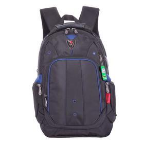Рюкзак молодежный, Across AC21, 43 х 30 х 18 см, эргономичная спинка, чёрный/синий