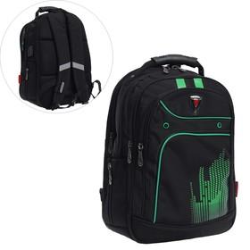 Рюкзак молодежный, Across AC21, 43 х 30 х 18 см, эргономичная спинка, чёрный/зелёный