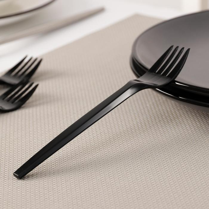 Вилка одноразовая Доляна, 14 см, цвет чёрный, флуоресцентный