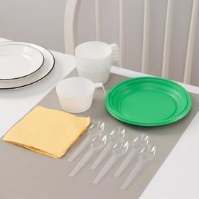 Набор одноразовой посуды Доляна «Десертный», 6 персон, тарелки десертные, чашки 140 мл, ложки чайные, салфетки